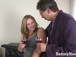 Chubby blonde housewife with big boobs, Pamela is often getting fucked while still at work